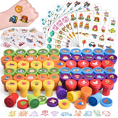 FUN LITTLE TOYS 212 Pcs Assorted Stamps & Stickers Set for Kids Includes 68 Pieces Self-Ink Stamps and 144 Pieces Stickers for Kids Party Favors, Easter Basket Stuffers, Easter Egg Fillers