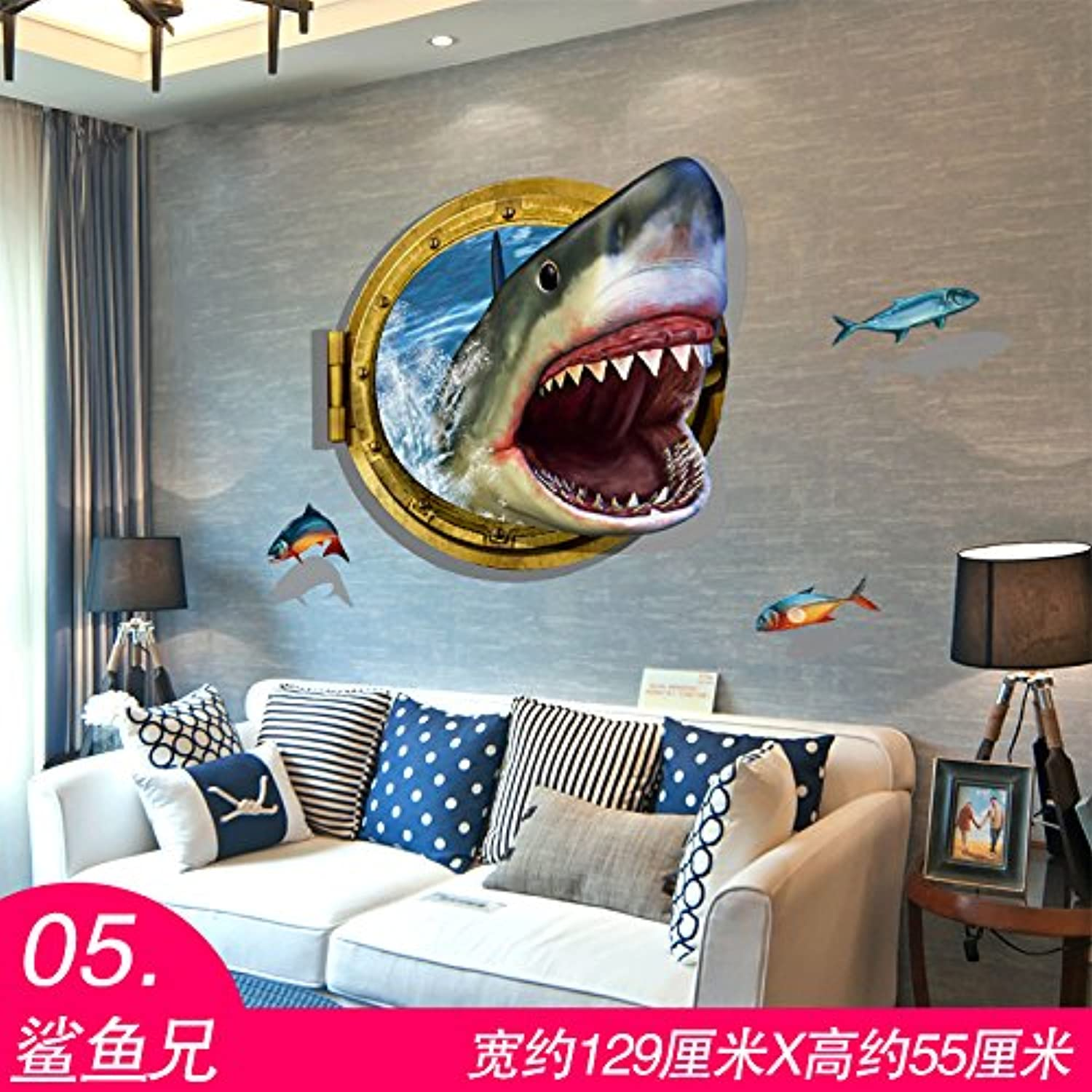 Znzbzt Wall Mount 3D Posters Sitting Snugly Against The Background of The Waterproof SelfAdhesive Wall Decals,05 Sharks, Large