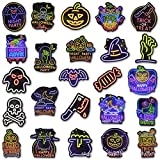 Eastor Halloween Tatuaje Luminoso 50 Hojas Pegatina Temporal Fluorescente para Suministros de Manualidades de Halloween, premios de aulas, Fiesta de Halloween
