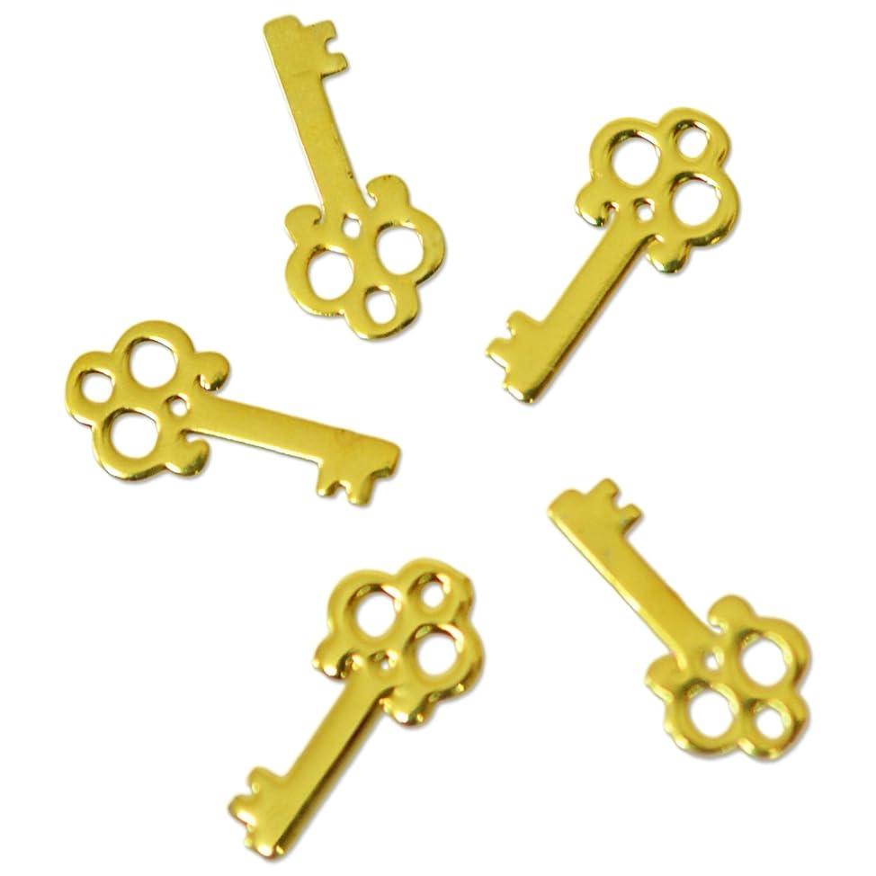 排除する気怠い行為薄型メタルパーツ10028 カギ KEY 3×7mm(ゴールド)/20p入り 片面仕上げ