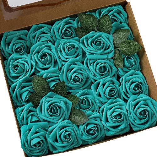Ksnrang - Rosas Artificiales de Espuma con Aspecto Real de Rosa Fucsia para Hacer Ramos de Boda, centros de Mesa, decoración para el hogar, Verde Oscuro, 25pcs