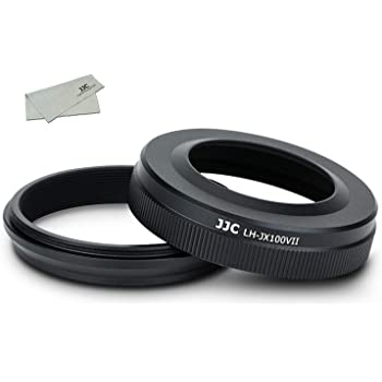 JJC メタル レンズフード ねじ込む式 富士フィルム Fujifilm Fuji X100V X100 X100S X100T X100F に対応 LH-X100 フード & AR-X100 アダプタ 互換 黒い