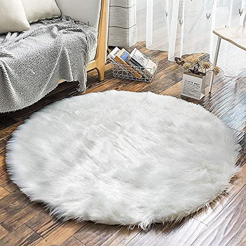 HLZDH Peau de Mouton synthétique,Cozy Sensation comme véritable Laine Tapis en Fourrure synthétique, Man-Made Luxe Laine Tapis de Canapé Coussin (Rond Blanc, 90 X 90 CM)