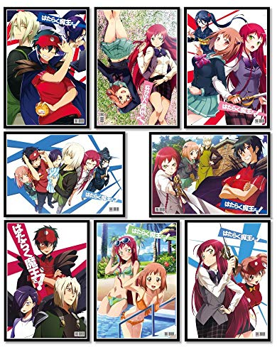 ePanda The Devil is a Part-Timer Poster Japanese Anime Posters Wall Decor Art Print,Set of 8 pcs,11.5x16.5 inches