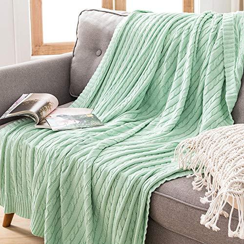 XUMINGLSJ Mantas para Sofás de Franela- Manta para Cama Reversible de 100% Microfibre Extra Suave -Verde Claro_El 110x180cm