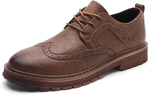 XHD-Chaussures Tenue de Ville Simple Oxford Décontracté Décontracté Classic Carving Lace Up Retro Brogue Chaussures (Couleur   Marron, Taille   43 EU)
