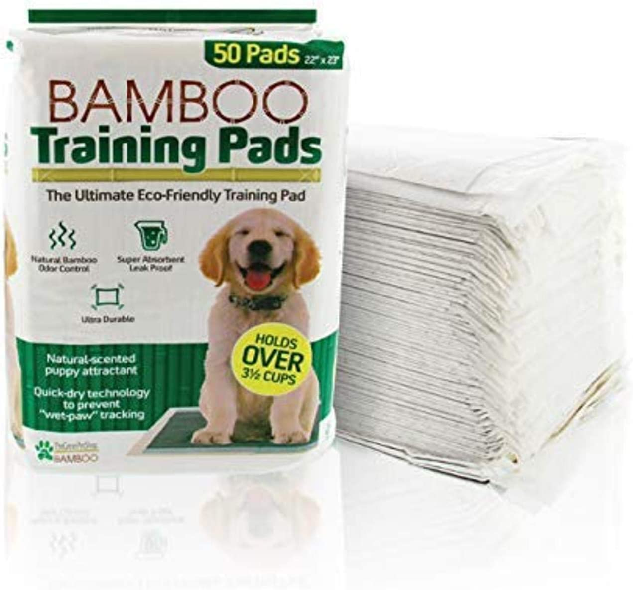 The Green Pet Shop Bamboo Dog Training Pads 50 Count 22 x 23 Inches Super Absorbent Pads With Prolonged Odor Control Ideal Puppy Training Pads or Incontinence Pads for Senior Pets