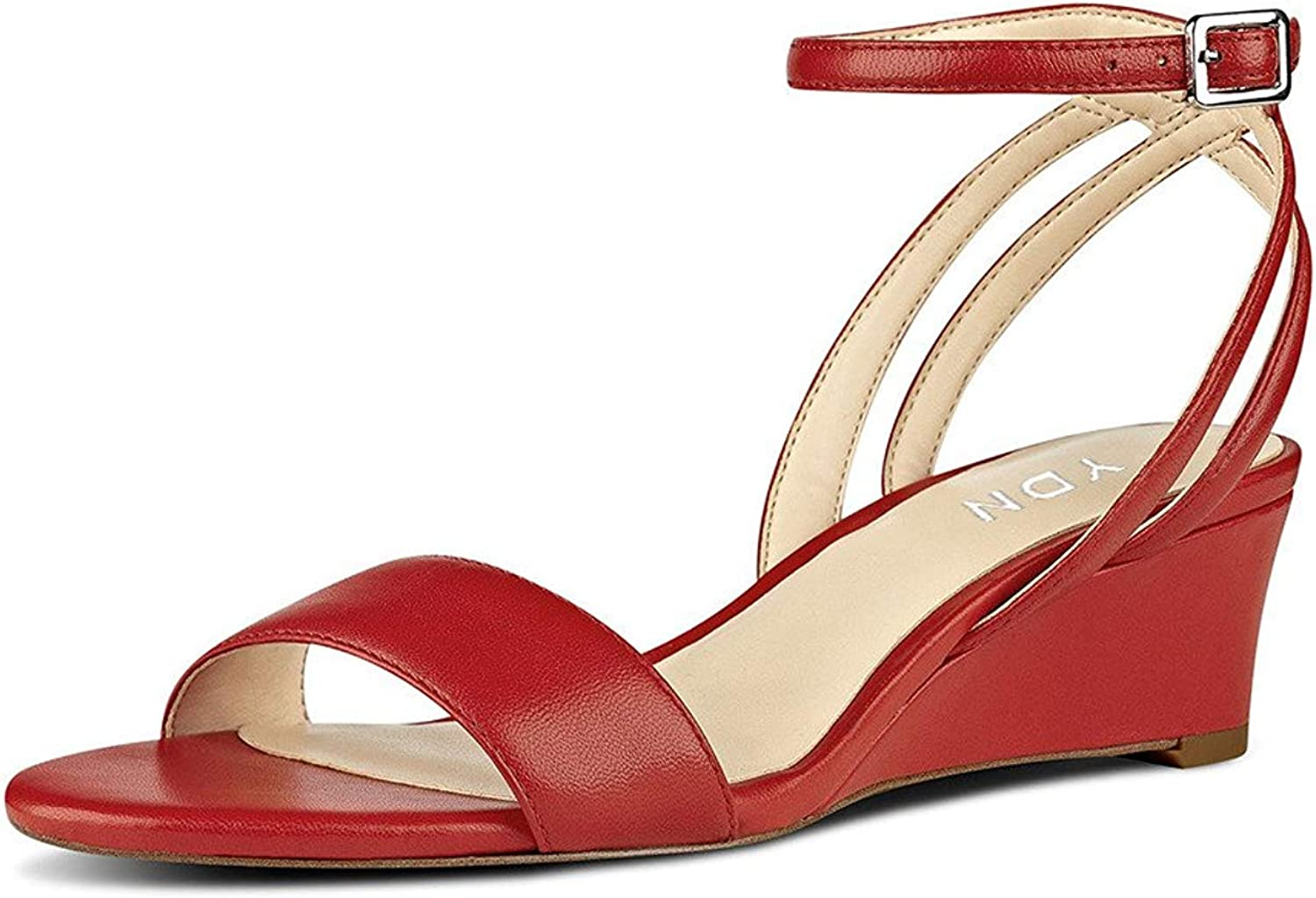 YDN Women Open Toe Low Heel Wedge Sandals Ankle Straps Slingback Summer shoes
