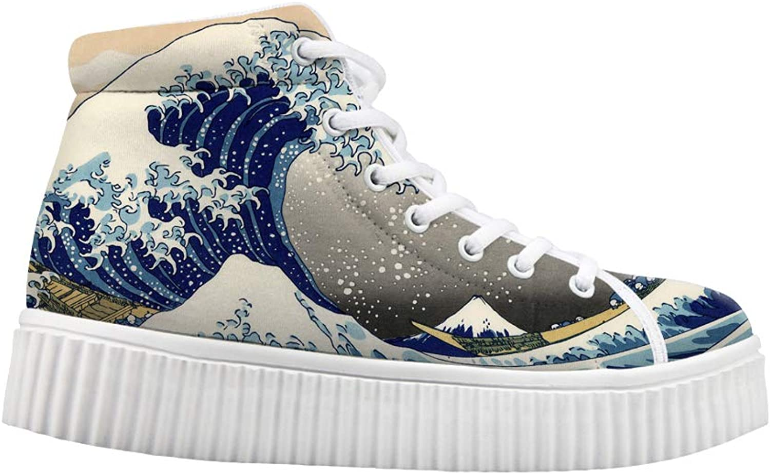 Owaheson Platform Lace up Sneaker Casual Chunky Walking shoes High Top Women The Great Wave of Kanagawa