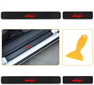 for Subaru BRZ Impreza WRX Legacy Forester Crosstrek Outback 4D Carbon Fiber Door Sill Guard Protector Kick Plate Trim Covers Stickers with No Smoking Red 4Pcs