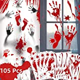 105PCS Scary Bloody Handprint Footprint Halloween Decorations-11 Sheets Halloween Window Clings, Zombie Restroom Sign Decals Clings Halloween Spooky Window Stickers for Halloween Party Wall Suppliers