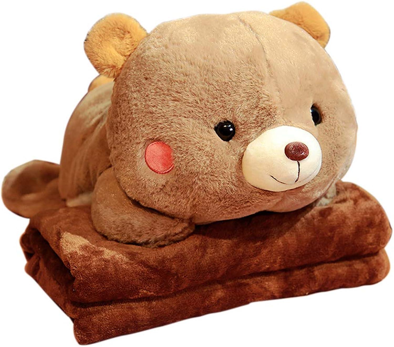 Creative Dual Purpose Pillow Flannel Blanket Within Cartoon Bear Plush Toy Sofa Cushion Dark Brown