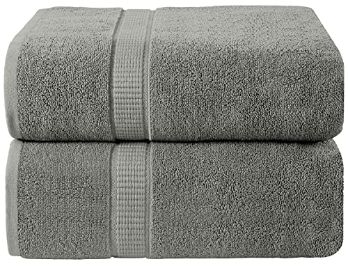 Oakias 2 Pack Luxury Bath Sheets Grey – 35 x 70 Inches – Highly Absorbent, Fluffy & Soft 600 GSM Extra Large Bath Towels