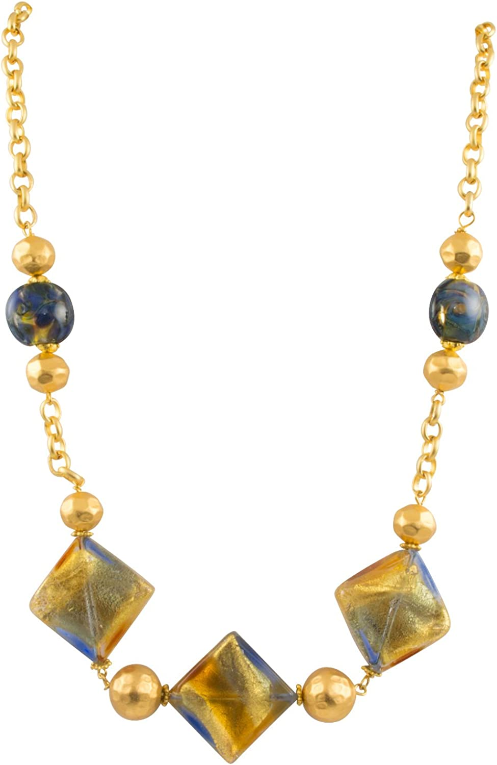 Just Give Me Jewels 18K Gold Plated Fused Murano Square Bead Collar Necklace