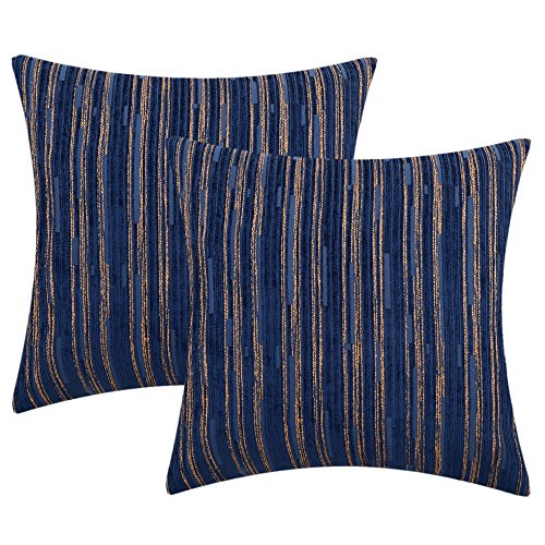 Yeiotsy Cushion Covers Bohemia, Pack of 2, Cozy Modern Striped Cushion Cases Decorative Pillow Cases 18 x 18 Inches Cushion Shells for Sofa Bed Car (Navy Blue, 18 X 18 Inches)
