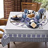 Lilac Purple Printed Tablecloth Water Resistant Fabric Tablecloth. It illustrates arabesques Inspired by Classic Tiles of Portugal, as Well as Delicate Flowers. (Rectangle 55x86 inches)