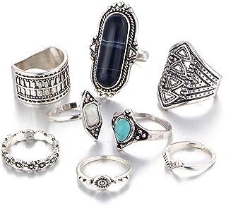 forbestest 8 unids/set conjunto de anillos conjunto retro anillos para hombres mujeres piedras preciosas nudillo conjunto ...