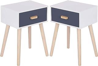 meihe Lot de 2 Table de Chevet,Table de Nuit avec tiroir/Un Ton Gris Moderne/Armoire de Rangement/Facile à Assembler pour ...
