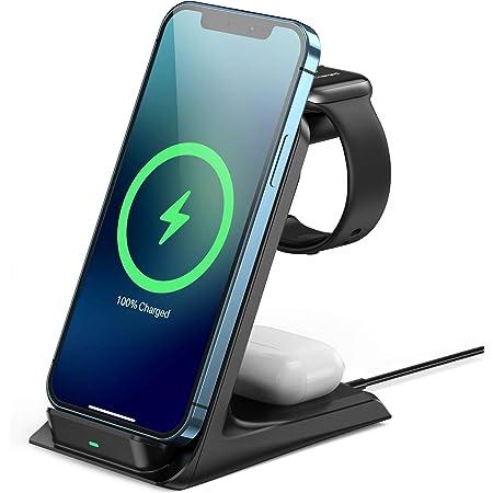 AGPTEK 15W Cargador Inalámbrico Rápido, 3 en 1 Estación de Carga Rápida Qi para iPhone 12/12 Mini/12 Pro/11/11, Samsung Galaxy S8/S9/S10/S20, Airpods Pro/2, Apple i Watch SE/6/5/4/3/2, Negro
