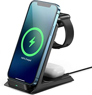 AGPTEK 15W Cargador Inalámbrico Rápido, 3 en 1 Estación de Carga Rápida Qi para iPhone 12/12 Mini/12 Pro/11/11, Samsung Ga...