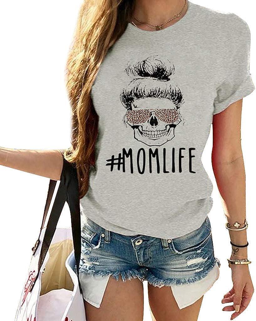 Yesgirl Shirt Damen Teenager M/ädchen Momlife Totenkopf Skull Leopard Schulterfrei Tshirts Frauen Locker Off Shoulder Sommer Oberteile Sport Kurzarm Shirts Casual Tops Blusen T-Shirt