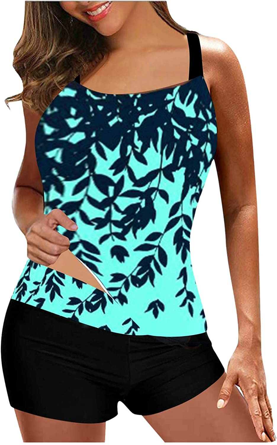 Direct Fixed price for sale stock discount Two Piece Tankini Swimsuits for Sporty Women Leaves Tankin Print