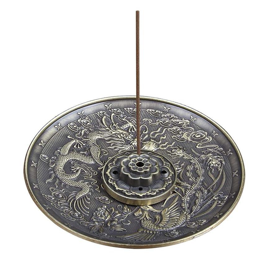 ヘビーフォーマル呼ぶ合金線香ホルダーロータススティック線香バーナードラゴンとフェニックスコーン線香オイルバーナー灰との逆流キャッチャー(5穴) (Color : Bronze, サイズ : 3.77*0.51inches)