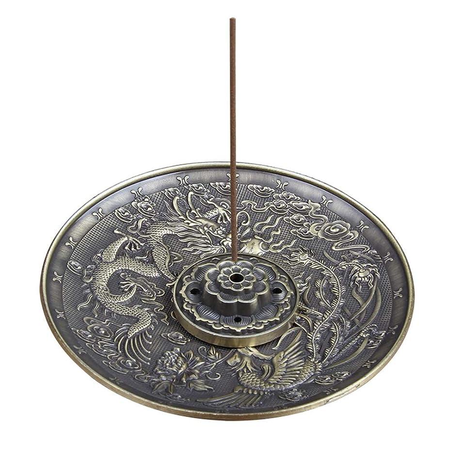 ペダル防ぐプレゼント合金線香ホルダーロータススティック線香バーナードラゴンとフェニックスコーン線香オイルバーナー灰との逆流キャッチャー(5穴) (Color : Bronze, サイズ : 3.77*0.51inches)