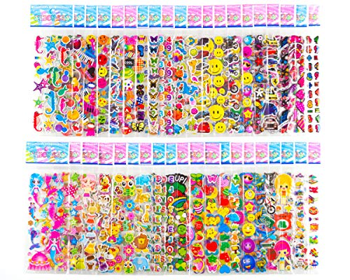 Sticker Sheets Stickers for Kids - 40 Different Kids Bulk Stickers 1200+ Fun Stickers for Girls Boy Stickers Kids Stickers for Toddlers Puffy Stickers Assorted Scrapbook Stickers Dress Up Sticker