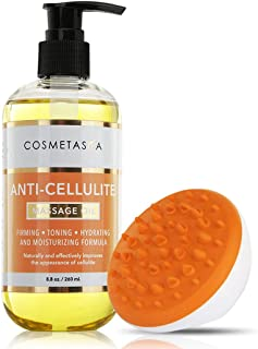Anti Cellulite Massage Oil with Cellulite Massager- 100% Natural Cellulite Treatment, Deeply Penetrates Skin to Break Down Fat Tissue- Firms, Tones, Tightens & Moisturizes Skin