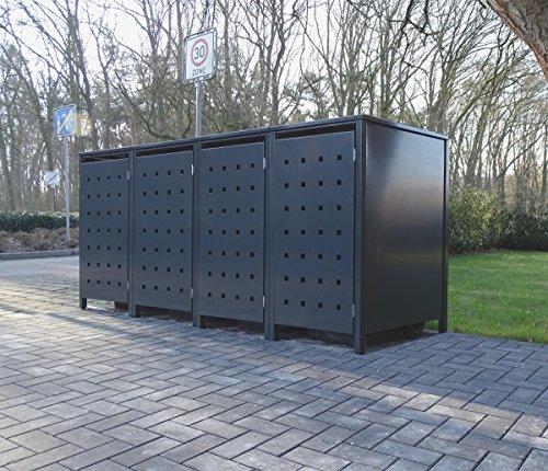 4 Mülltonnenboxen Modell No.2 für 240 Liter Mülltonnen / komplett Anthrazit RAL 7016 / witterungsbeständig durch Pulverbeschichtung / mit Klappdeckel und Fronttür