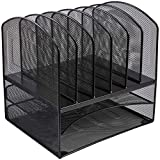AmazonBasics Mesh Six Slot File Storage Office Organizer with Double Tray