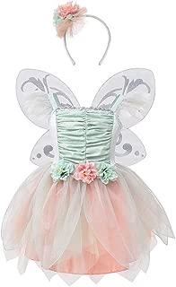 DJDLPARTY Fairy Costume Dress for Girls, Green Princess Flower Girl Dress, Tutu Dress with Headband and Wings