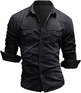 Jiayuan Camisa Vaquera Camisa Vaquera de algodón para Hombre Moda Primavera y otoño Camisa Vaquera Delgada de Manga Larga ...