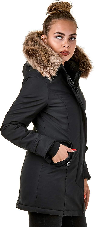 Burocs Damen Jacke Parka Winterjacke Kunstfellkapuze Schwarz Khaki BR1828-05 Schwarz