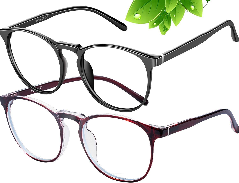 FEIYOLD Blue Light Blocking Glasses Women/Men,Retro Round Anti Eyestrain Computer Gaming Glasses(Black+Red)
