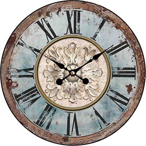 Wanduhr - Holz Küchenuhr mit großem Ziffernblatt aus MDF, Retro Uhr im angesagtem Shabby Chic Design mit leisem Quarz-Uhrwerk, Ø: 34 cm, Muster Uhr:Antik