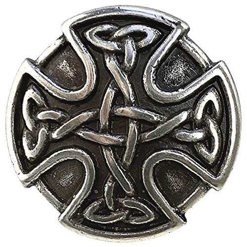 BS9977 Screw Back Celtic Cross Conchos 1' (25mm) Antique Silver Celtic Concho 10 pcs
