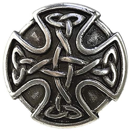 BS9977 Screw Back Celtic Cross Conchos 1' (25mm) Antique Silver Celtic Concho 10 pcs