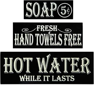 OHIO WHOLESALE, INC. Hot Water, Hand Towels, Soap Lot of 3 Small Wood Block Signs Rustic Bath Country Vintage Look