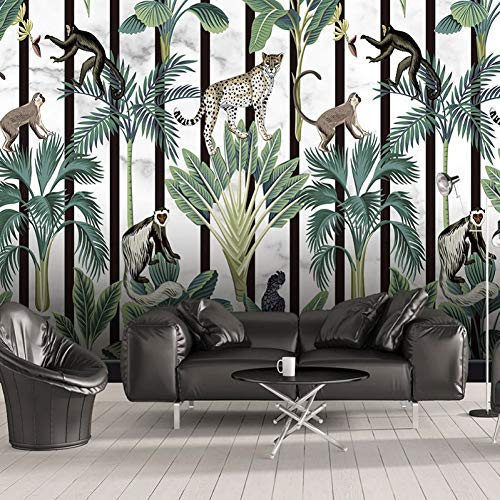 Foto personalizada Tropical Rainforest Animal Monkey Mural Wallpaper Moderno Salón Dormitorio Fondo 3D Papeles de pared Decoración para el hogar