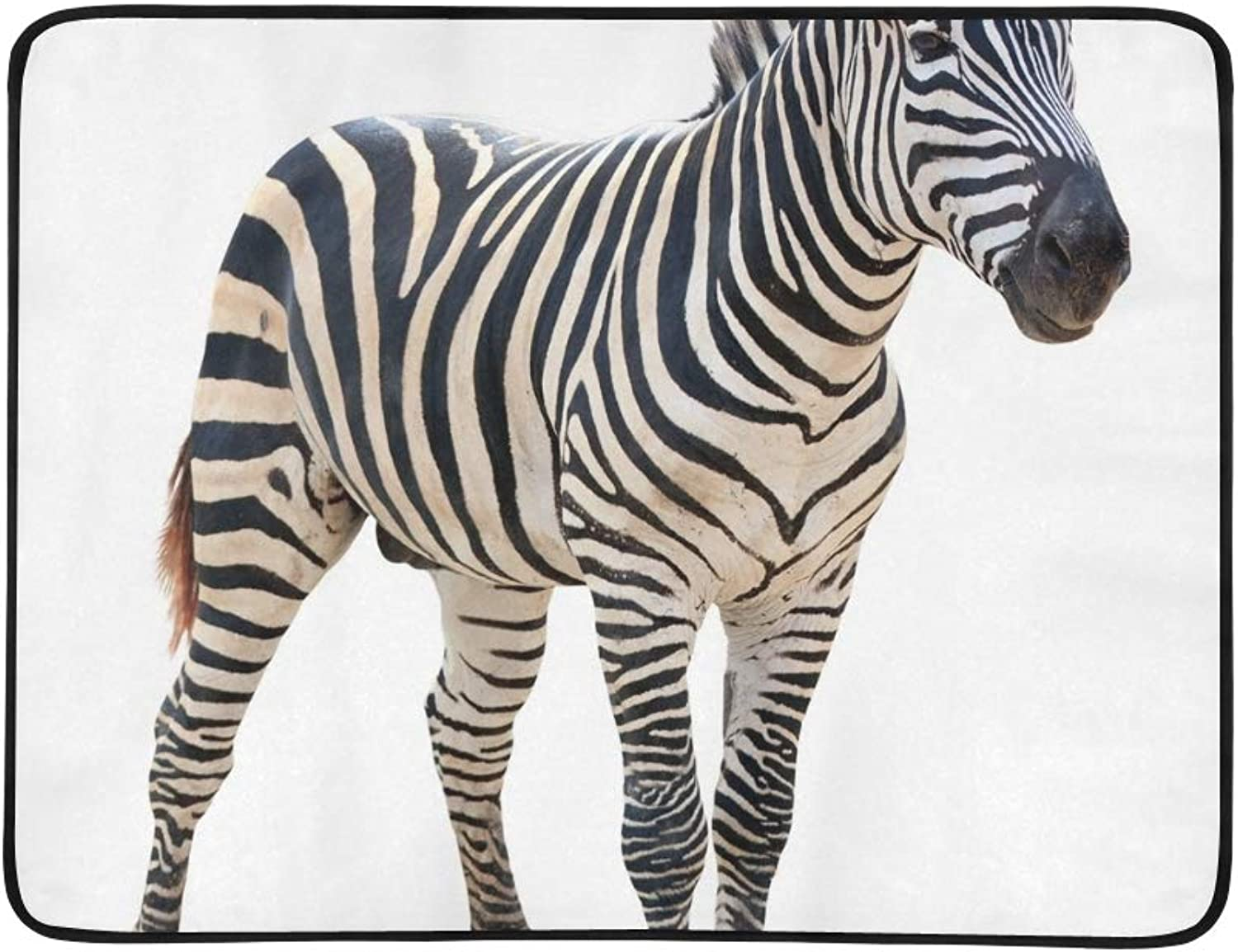 Plain Burchell Zebra On White Portable and Foldable Blanket Mat 60x78 Inch Handy Mat for Camping Picnic Beach Indoor Outdoor Travel