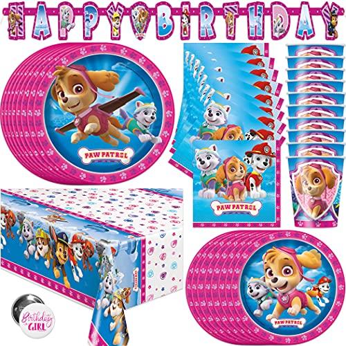 Paw Patrol Skye and Everest Girl suministros para fiesta de cumpleaños – sirve 16 – cartelera, mantel, platos de cena, platos de tarta, tazas, servilletas, botón