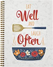 "Softcover Eat Well 8.5"" x 11"" Recipe Spiral Notebook/Journal, 120 Recipe Pages, Durable Gloss Laminated Cover, Gold Wire-o..."