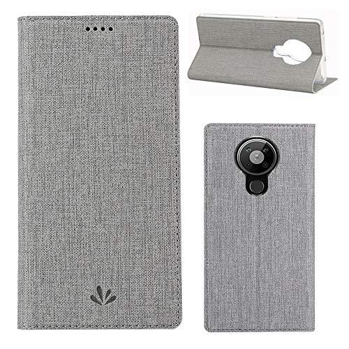 Cubierta protectora a prueba de golpes para la suma del borde de moto, función de soporte, paso de imán, caja del teléfono con soporte de tarjeta de nombre, para nokia 5.3 caso ( Color : Gray )