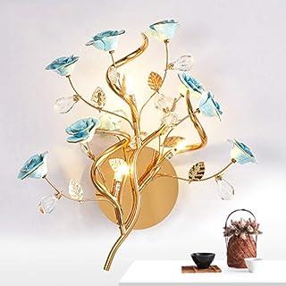 Reeseiy Céramique Rose Applique Murale Fleur Chic Pendentif En Cristal De Luxe Intérieur Lampe Mural Décoratif Nuit Hôtel Living @ Gold_Kaltes Vente Éclairage Blanc Maintenu Produit Usage Quotidien