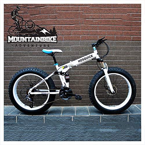NENGGE Pieghevole Biciclette Mountain Bike Biammortizzata 24 Pollici, Adulti Uomo Donna Pneumatico Grasso Bicicletta da Montagna con Freni Disco, Acciaio Alto Tenore Carbonio,Bianca,24 Speed