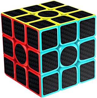 TANCH Speed Magic Cube Carbon Fibre Stickers 3x3x3 Puzzle Game for Children & Adults Black