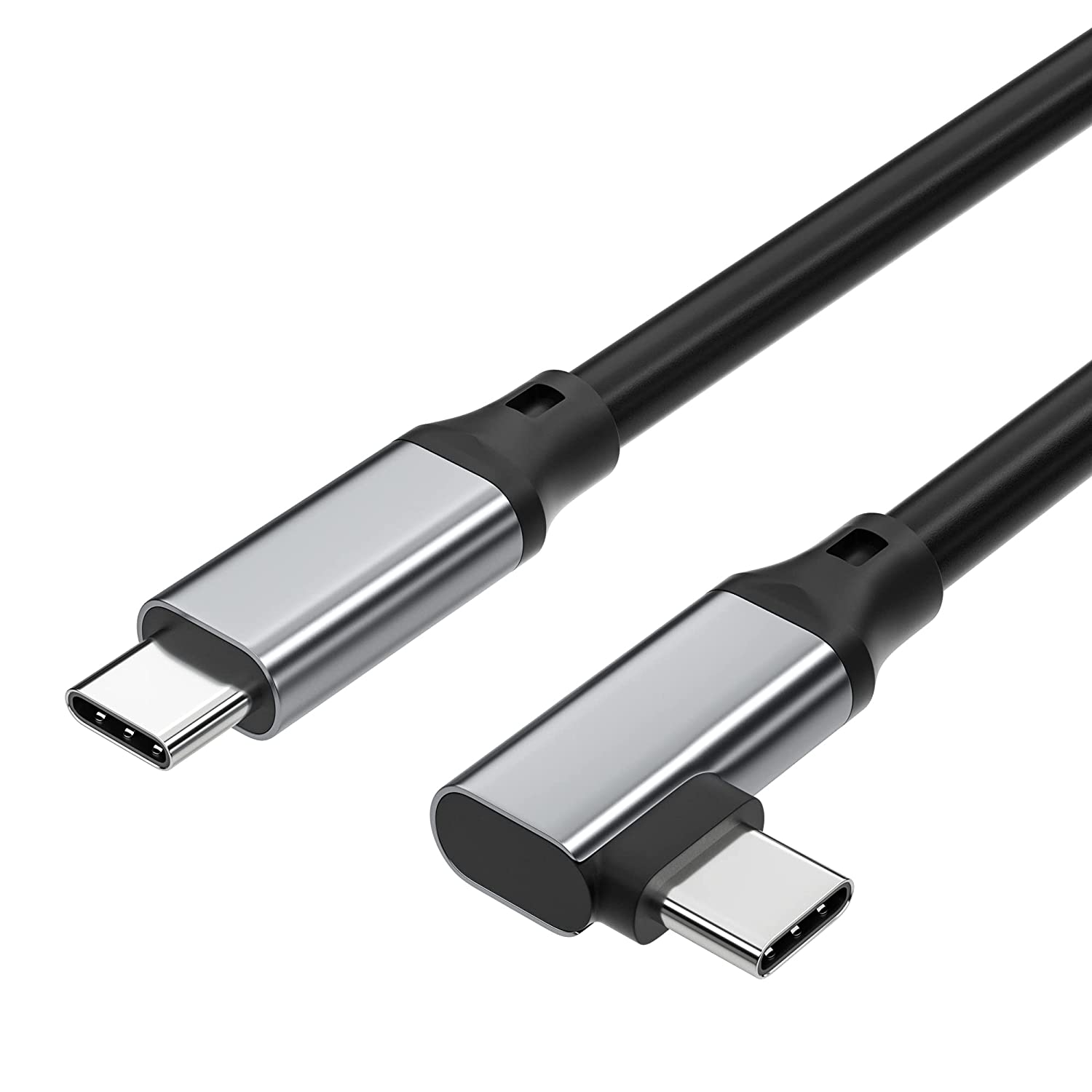 USB C to USB C Cable 3ft 90 Degrees 3.1 Gen 2, iChanko USB C 10Gbps 4K Video Output Monitor Cable, 100W PD Fast Charging Compatible with Thunderbolt 3, Oculus Quest, MacBook Pro, S20 (Grey, 3ft)