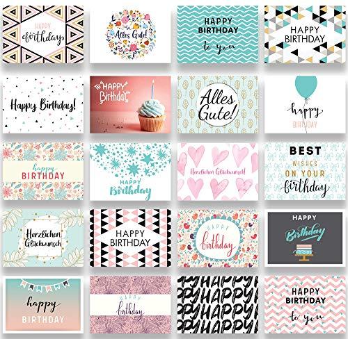 Friendly Fox Geburtstagskarten Set - 20 Glückwunschkarten zum Geburtstag - Happy Birthday Set mit 20 Grußkarten für Erwachsene und Kinder